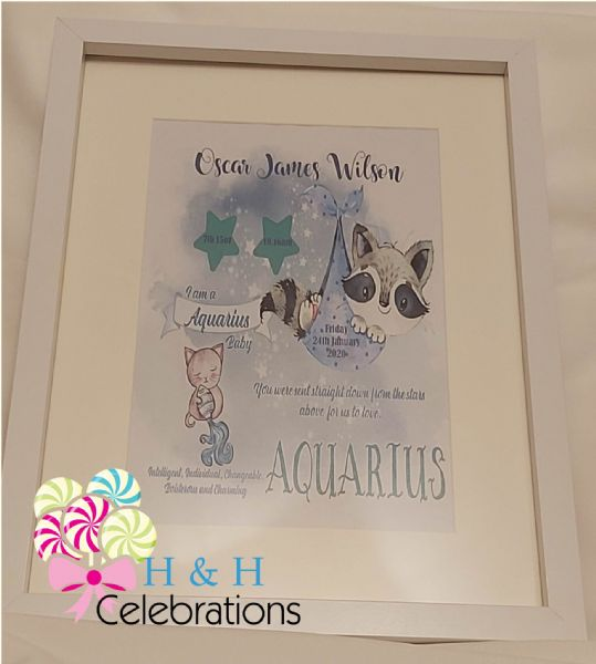 Aquarius New Baby Star Sign Print